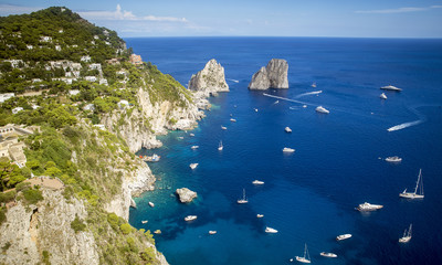 Faraglioni rocks and Capri island, Italy