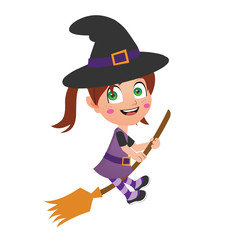 young witch flying on broom