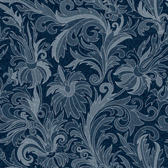 Vector Jeans background with flowers. Denim seamless pattern. Blue  fabric. Floral grunge