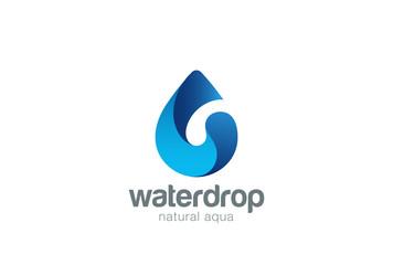 Wall Mural - Water drop Logo design vector. Aqua droplet Logotype icon.