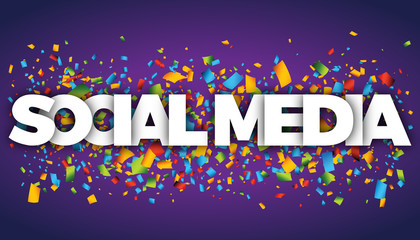 social media letters vector word banner sign