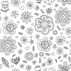 Vector pattern with flowers Doodle and zentangle