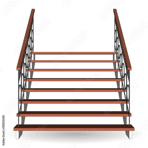 "Fence Ladder: ""Stairs Classical Icon With Forged Fence. Ladder 3d Front"