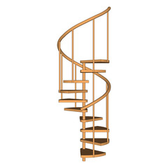 Spiral staircase wooden isolated. Side view.  Vector illustration on a white background.