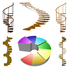 Set Spiral  ladder isolated. Stair Side view.  Vector illustration on a white background.