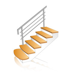 Stair concrete with wooden steps. Ladder  Sample 3d with chrome railing side view isolated. Vector illustration on a white background.
