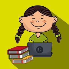 girl cartoon laptop books vector illustration design