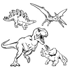 Dinosaurs Monochrome Hand Drawn Icons Set