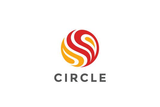 Circle Fire flame abstract Logo design vector. Sphere icon