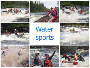 Set of pictures with people floating on catamarans on the rough river with rapids and splashes on a background of northern nature