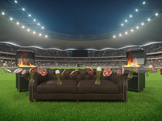 stadium with a sofa in the middle. 3d rendering