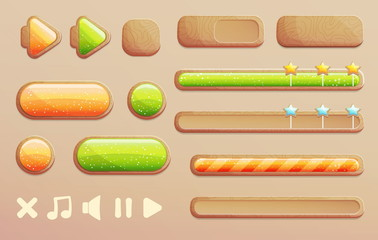 A set of cartoon wooden buttons, progress bars and icons with shiny glass elements for game and app design. Different shapes and arrows.