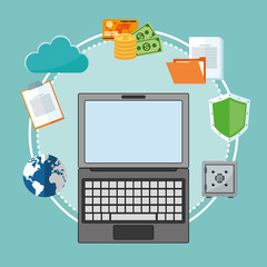 laptop cloud shield money file planet cyber security system technology icon. Colorful and flat design. Vector illustration