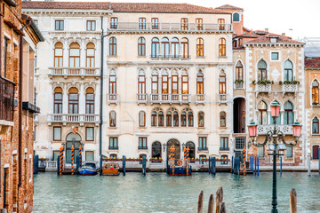 Beautiful waterfront with gothic buildings on Grand canal in Venice