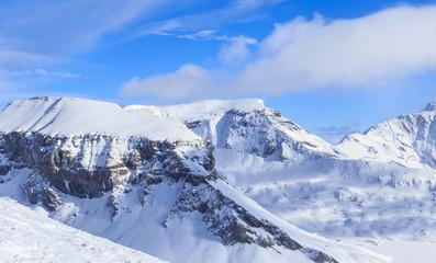 Mountains with snow in winter.  Ski Resort Laax. Switzerland
