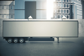 Blank white semi-trailer