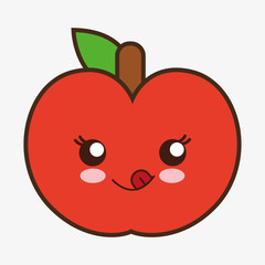 apple kawaii cartoon smiling healthy food icon. Colorful and flat design. Vector illustration