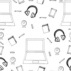 Seamless pattern with hand drawn monitor, book, mobile and web c