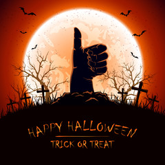 Halloween background with thumb up on cemetery