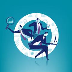 Multitasking. Multi-tasking manager. Business concept illustration.