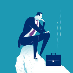 Thinker. Thinking manager. Business concept illustration