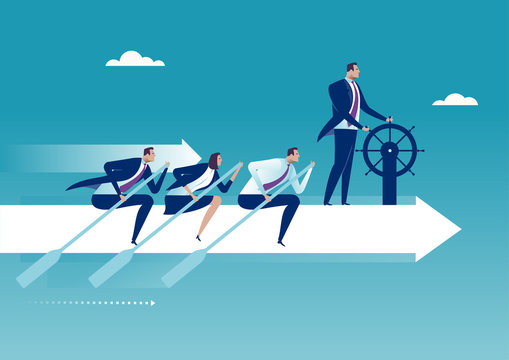The Team. Group of business persons flying on white arrow. Business concept illustration.