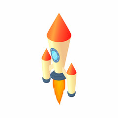 Two stage rocket icon in cartoon style isolated on white background. Aircraft symbol