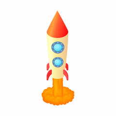 Rocket for space flight icon in cartoon style isolated on white background. Aircraft symbol