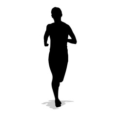 Running woman, isolated vector silhouette. Front view