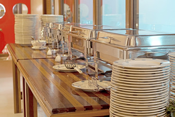 food service steam pans on buffet table