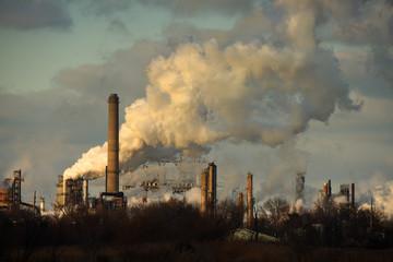Heavy Smoke at Oil Refinery