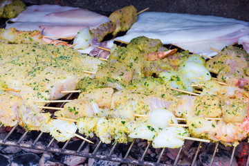 Fish kebabs on the barbecue