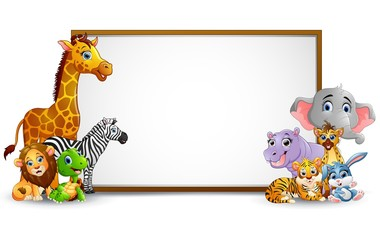 Animal cartoon collection with blank sign