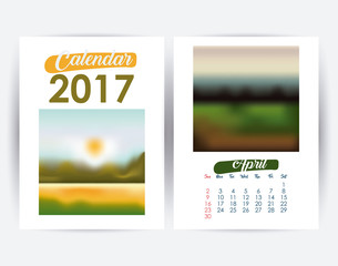 2017 april year frame landscape picture photo calendar planner month day icon. Colorful and Flat design. Vector illustration
