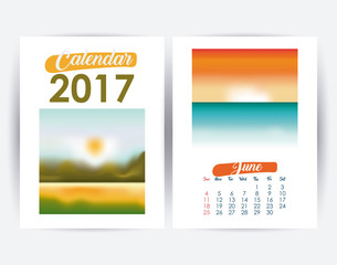 2017 june year frame landscape picture photo calendar planner month day icon. Colorful and Flat design. Vector illustration