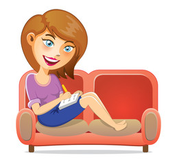Young Girl Writing A Book On Sofa