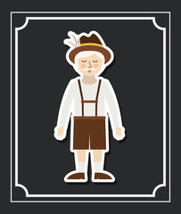 man german germany cartoon avatar cloth traditional oktoberfest icon. Colorful and Flat design. Vector illustration