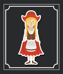 woman german germany cartoon avatar cloth traditional oktoberfest icon. Colorful and Flat design. Vector illustration