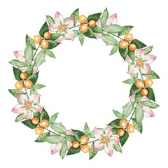 Floral wreath 4. Watercolor painting. Round frame with hand drawn leaves and flowers