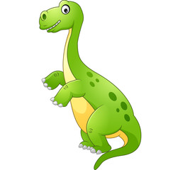 Cartoon funny dinosaur isolated on white background