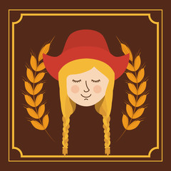 woman german germany cartoon avatar cloth traditional oktoberfest icon. Colorful frame and Flat design. Vector illustration