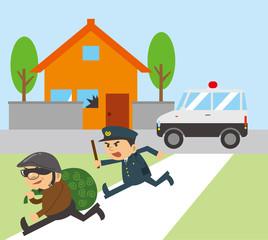 空き巣を追いかける警察官のイメージイラスト