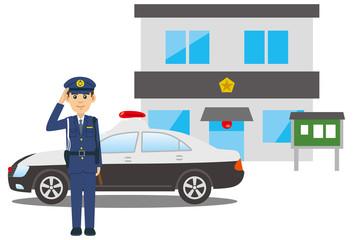 敬礼をする警察官とパトカーと交番のイメージイラスト