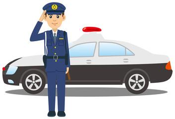 敬礼をする警察官とパトカーのイメージイラスト