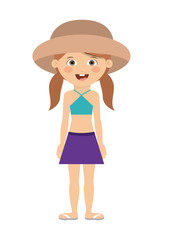 girl hat kid swimming cloth cartoon summer icon. Isolated colorful and flat design. Vector illustration
