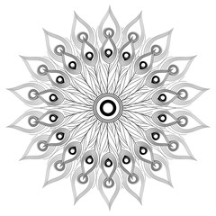 White black mandala vector isolated. India, tribal, oriental or arabic ornament for coloring page. Peacock feathers decoration print.