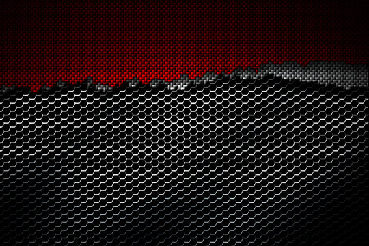white and red carbon fiber tear on the black metallic mesh.
