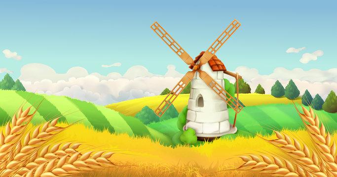 Wheat field. Windmill landscape. Horizontal background, vector