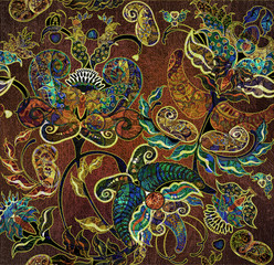 floral shabby exotic oriental pattern motley
