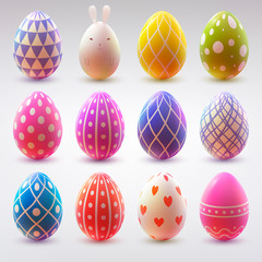 Set of realistic eggs on white background. Easter collection. Vector illustration.